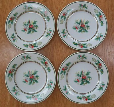 Noritake Holly 2228 Christmas Bread & Butter China Plates/Dishes Lot of 4 Japan