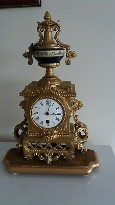 Antique French Gilt Ornate Mantel Clock. Timepiece only, In good working order.