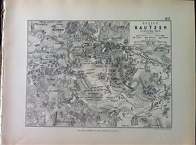Map, Battle BAUTZEN c1813 Napoleonic War Engraved A K Johnston, Hcol