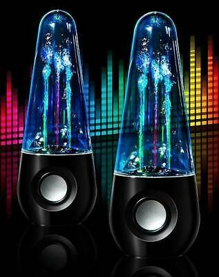 USB LED Dancing Water Jet Loud Speakers PC Laptop Audio Jack Wired Stereo Sound