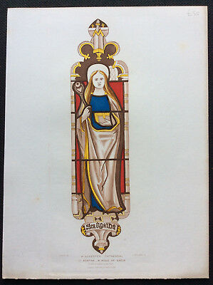 Stained Glass St Agatha, Winchester Cathedral, Owen Carter, Le Keux, orig c1845