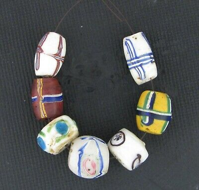 African trade beads Venetian Wound Lampworked mosaic glass beads  #F54