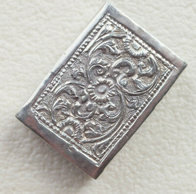 Antique Matchbox holder - nicely decorated -  Silver Colour White metal
