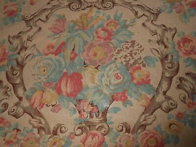 5.5Y new linen fabric with printed large floral urn vase pattern