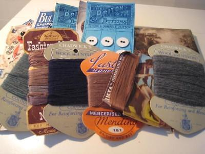 VINTAGE Haberdashery Bundle - Darning Threads, Linen Buttons, Needles, Poppers