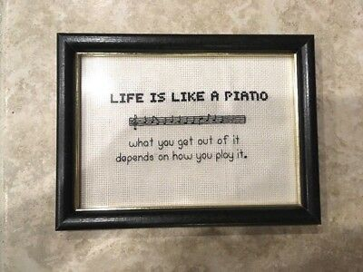 Vintage Life is Like a Piano Framed Needlepoint Cross Stitch Completed Handmade
