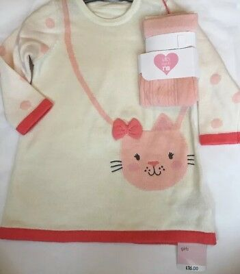 Mothercare Girls Cream Knitted Dress & Pink Tights Set Age 3-6 Months