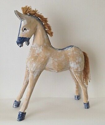 Wooden Horse - Gorgeous Antique, Folk Art Feel - Large, 34 Cm Tall