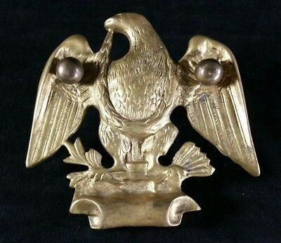 Vintage Brass Eagle Front Door Decor w Mounting Hardware 5.25 x 5.5 No Knocker