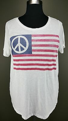 LUCKY BRAND WHITE RED BLUE AMERICAN FLAG SHORT SLEEVE COTTON TOP TEE PLUS Sz 1X