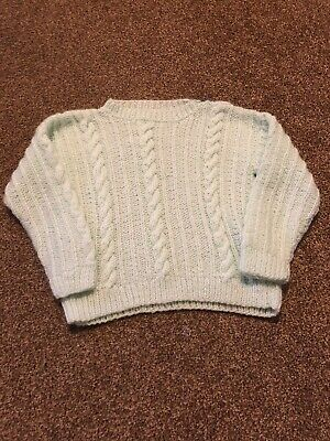 Hand knitted pastel green striped cable knit jumper girls age 4-5 years