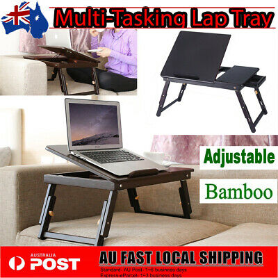 Portable Folding Laptop PC Desk Lap Bed Tray Dinner Notebooks Bamboo Table Stand