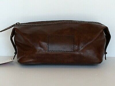 Pottery Barn Saddle Leather Toiletry Case New With Tags Msrp $59.00
