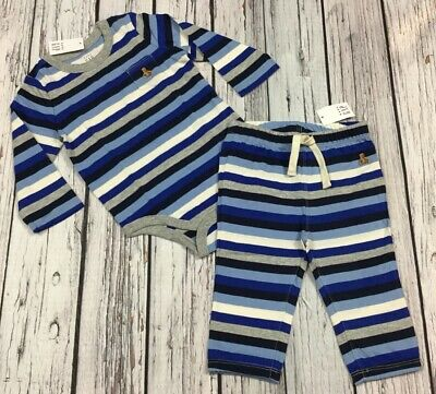 Baby Gap Boys 3-6 Months Outfit. Blue Striped Shirt & Pants. Nwt