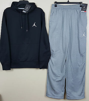 NIKE JORDAN THERMA FIT Training Suit Hoodie+Pants Black Grey Rare (Size Medium)
