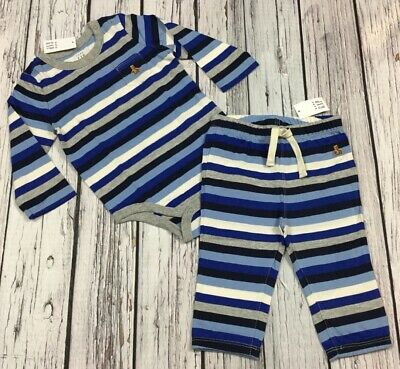 Baby Gap Boys 0-3 Months Outfit. Blue Striped Shirt & Pants. Nwt