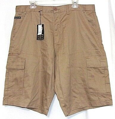 "HAWKS BAY Mens 38 CARGO SHORTS FLAT FRONT MULTI-POCKETS 13.5""inseam Khaki cotton"