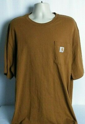 719ad526 Carhartt Short Sleeve Pocket Work Tee T-Shirt Brown Original Fit Size XXL  2XL