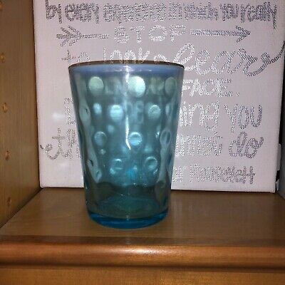 """Antique Small 4"""" Tall Water Goblet Blue Dimpled Glass EAPG"""