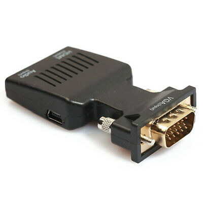 4X(1080P VGA macho a HDMI hembra Adaptador de video con 3.5mm audio/ Mini USB 3P
