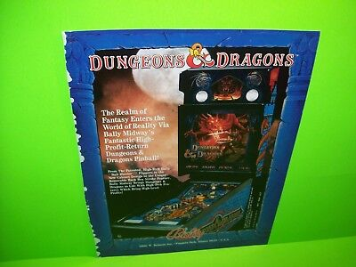 Bally DUNGEONS & DRAGONS Arcade Pinball Machine Pull Out Trade Magazine Ad 1987