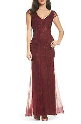 5034be95 Xscape NEW Red Womens Size 8P Petite Lace Embroidered Tulle Gown $318- 378