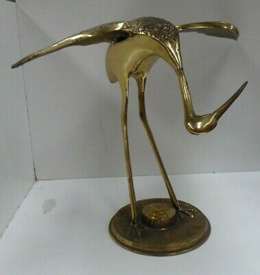 Vintage Brass Stork Crane Statue Retro Antique Asian Decor #2