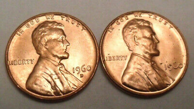 1960 P & D Lincoln Cent / Penny Set *LARGE DATE*  *AU OR BETTER* *FREE SHIPPING*