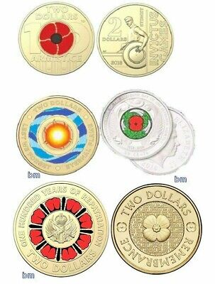 New $2 coins - 100 years repatriation poppys - Invictus - Eternal Flame  NZ 50c