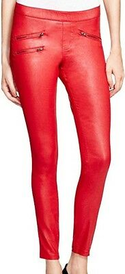 457ebb74d24be NWT HUE WOMENS DEEP RED GLOSSY MOTO ZIPPERED DENIM JEAN LEGGINGS Size S