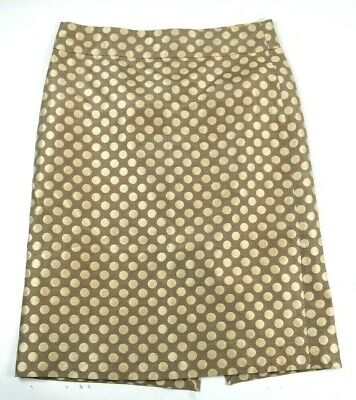 756d00f10a J CREW WOMENS Black Gold Polka Dot Circles Silk Blend Pencil Skirt ...