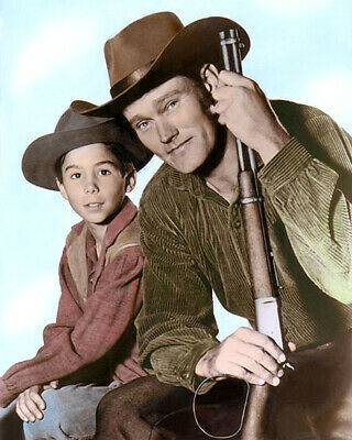 "CHUCK CONNORS JOHNNY CRAWFORD THE RIFLEMAN 1960s 8X10"" HAND COLOR TINTED PHOTO"