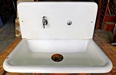 Antique Cast Iron Two Piece Kitchen Farm Sink - C. 1920 Architectural Salvage