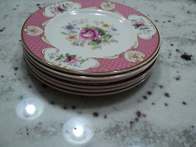 Myott  Son & Co Lt Enaland China Staffordshire Rose Pink  6)Plates @@@@