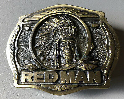 Brass Belt Buckle PINKERTON RED MAN CHEWING TOBACCO Embossed Indian Chief 1988