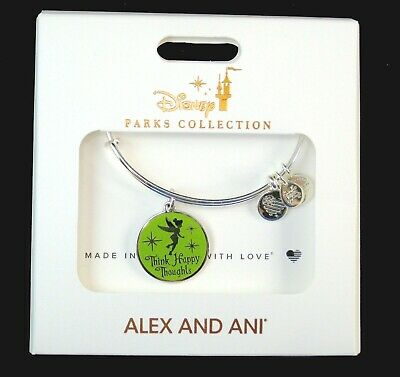 Alex&Ani Disney Authentic Bracelet Tinker Bell Think Happy Thoughts Tink Silver*