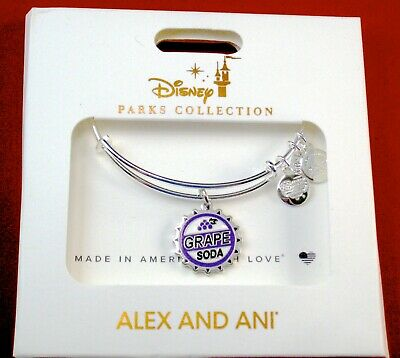 Alex & Ani Disney Park Bracelet Carl Ellie Up Grape Soda Badge Bottle Cap SIlver