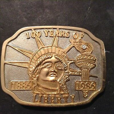 100 Years of Liberty 1886-1986  Lady Liberty Holding Torch Belt Buckle