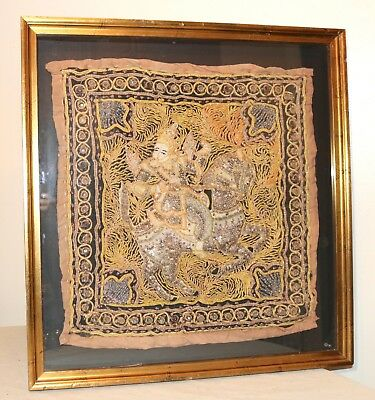 antique hand embroidered Kalaga Burmese glass beaded needlepoint tapestry Thai