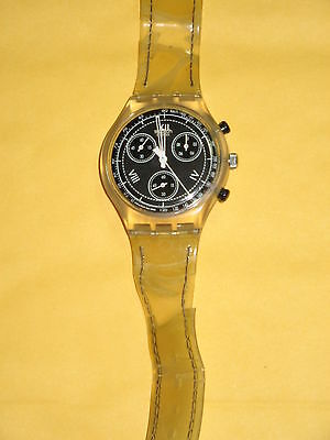 Swatch Watch AG 1995 Watch Roman Numerals Black White Yellow Gold FREE SHIP