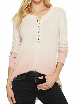 Free People OB739871 Cozy Up Henley Long Sleeve Top in Ivory Combo