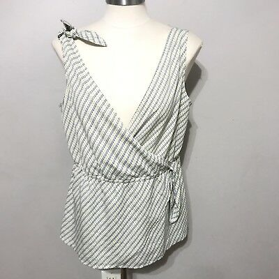 911dc8acfb9f80 WOMENS BANANA REPUBLIC White Wrap Top Size M - $17.99 | PicClick