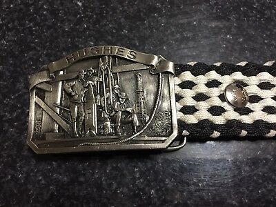 VINTAGE 1970s HUGHES TOOL CO PEWTER COUNTRY Belt Buckle and Black/White Belt 46""