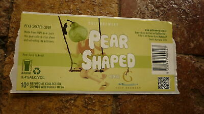Australian Beer Label, Gulf Brewery Sa, Pear Shaped Cider