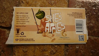 Australian Beer Label, Gulf Brewery Sa, Shes Apples Cider