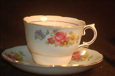 Colclough Blue Banded Floral Cup and Saucer