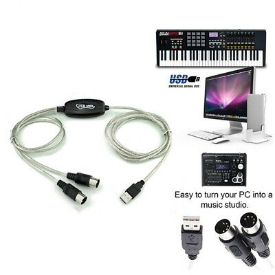 USB IN-OUT MIDI Interface Cable Converter PC to Music Keyboard Adapter Cord R
