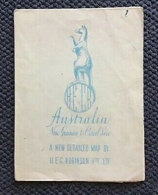 H.E.C Robinson 1940's Map Of Australia New Guinea And The Coral Sea