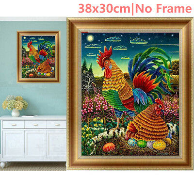 US Rooster & Hen 5D Diamond Painting Embroidery Cross Stitch DIY Kit Home Decor