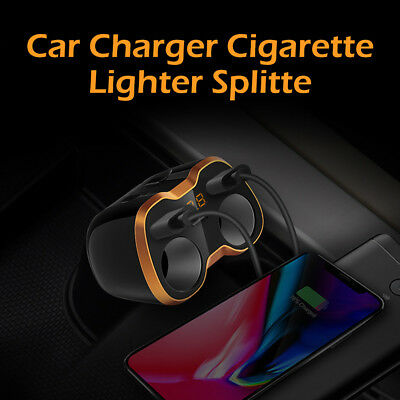 Car LCD Cigarette Lighter Socket Splitter DC 12V Dual USB Charger Power Adapter
